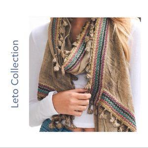 Boho inspired mocha dangling Tassel scarf